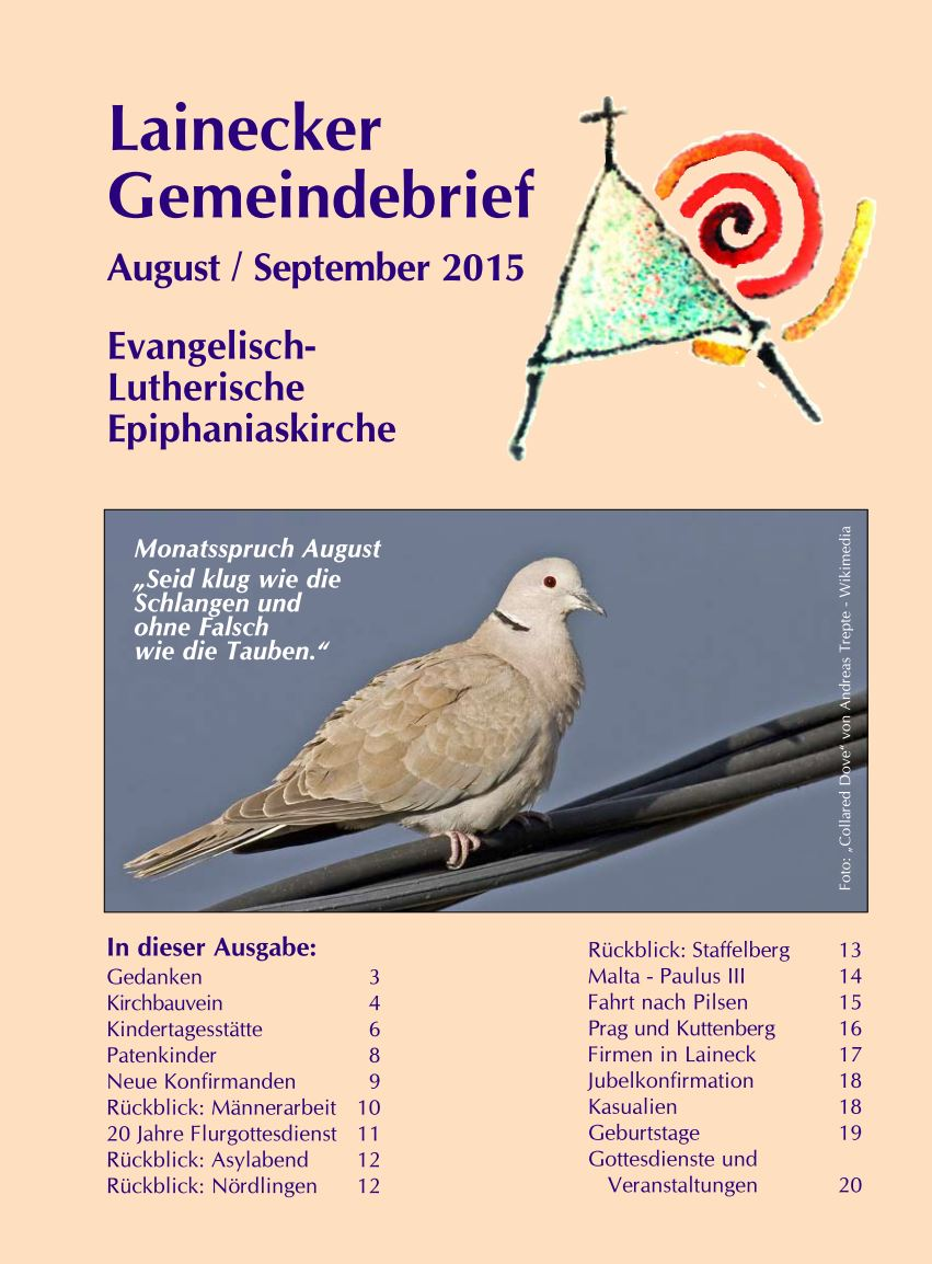 Gemeindebrief August/September 2015